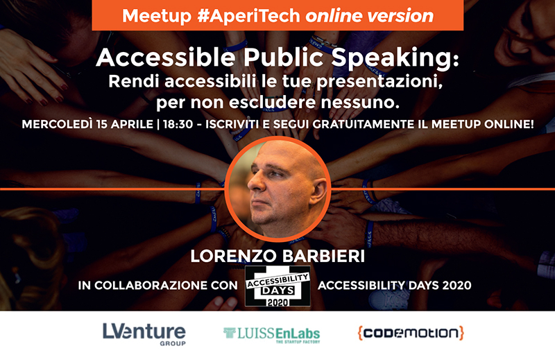 "Copertina webinar ""Accessible Public Speaking"""