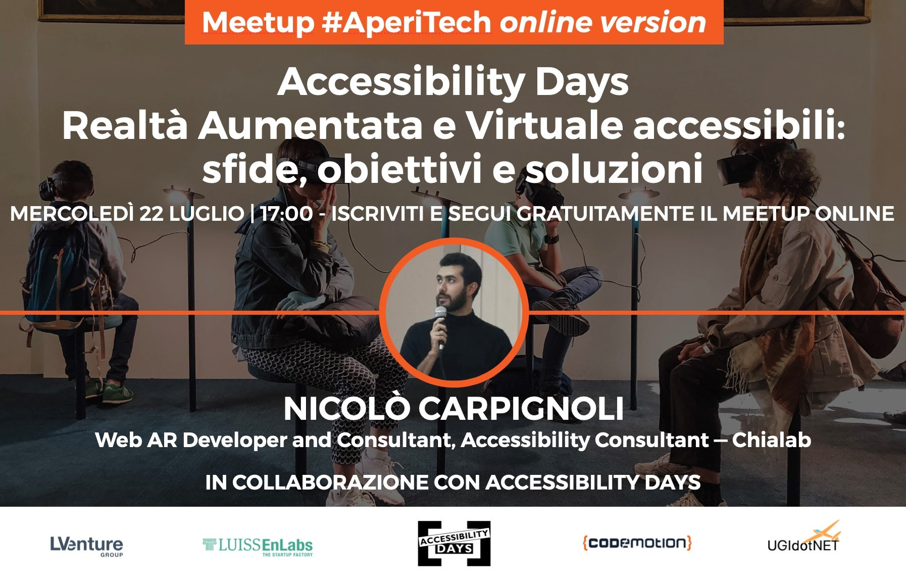 """Copertina webinar """"Realtà Aumentata e Virtuale accessibili: sfide, obiettivi e soluzioni"""""""
