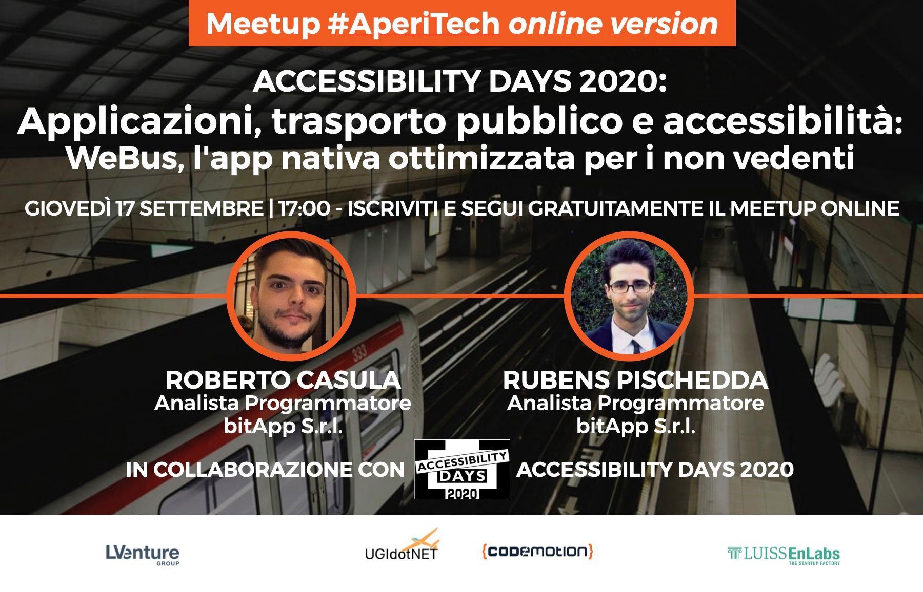 """Copertina webinar """"Applicazioni, trasporto pubblico e accessibilità: WeBus, l'app nativa ottimizzata per i non vedenti"""""""
